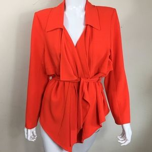 VINCE CAMUTO Women's Wrap Jacket Neon Orange